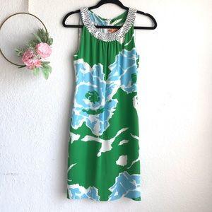 Tory Burch Green & Blue Shift Sleeveless Dress